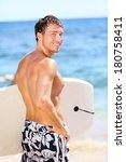 handsome male surfer portrait...   Shutterstock . vector #180758411