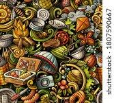 picnic hand drawn doodles... | Shutterstock .eps vector #1807590667