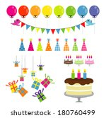 set of vector birthday party... | Shutterstock .eps vector #180760499