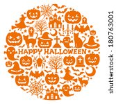 halloween icons in circle. | Shutterstock .eps vector #180763001