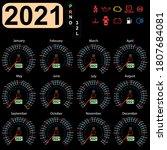 calendar 2021 year from the car ... | Shutterstock . vector #1807684081