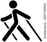 Nordic walking black icon on white background