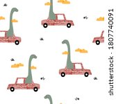 Funny Dinosaur In The Red Car...