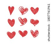 doodle hearts  hand drawn love...   Shutterstock .eps vector #1807761961