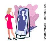 low self esteem of slim pretty... | Shutterstock .eps vector #1807833421
