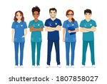 multiethnic nurse characters...   Shutterstock .eps vector #1807858027