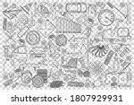car service doodle set.... | Shutterstock .eps vector #1807929931