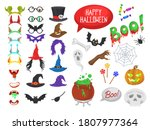 vector set of halloween party... | Shutterstock .eps vector #1807977364