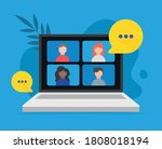video teleconference and remote ... | Shutterstock .eps vector #1808018194