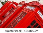 Five Red Phone Boxes  Angled...
