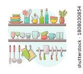 kitchen supplies on shelves.... | Shutterstock .eps vector #1808030854