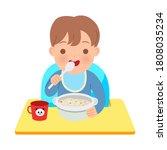 toddler boy sitting on baby...   Shutterstock .eps vector #1808035234