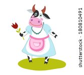 funny cartoon cow | Shutterstock .eps vector #180810491