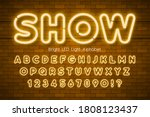 led light 3d alphabet  extra... | Shutterstock .eps vector #1808123437