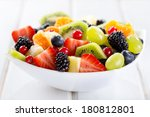 Bowl Of Fruit Salad On Wooden...