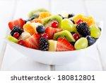 Bowl Of Fruit Salad On Wooden...