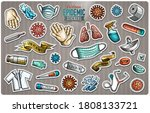 colorful vector stickers. hand... | Shutterstock .eps vector #1808133721