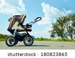 baby stroller on a walk in the... | Shutterstock . vector #180823865