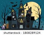 vector haunted house interior... | Shutterstock .eps vector #1808289124