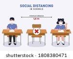 social distancing in schools...   Shutterstock .eps vector #1808380471
