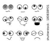 set of black faces | Shutterstock .eps vector #180838931