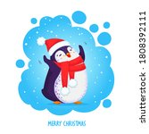 hand drawn cute dancing penguin ... | Shutterstock .eps vector #1808392111