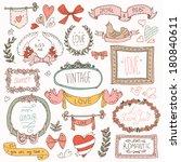 vintage label set  hand drawn... | Shutterstock .eps vector #180840611