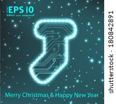 christmas sock in circuit board ... | Shutterstock .eps vector #180842891