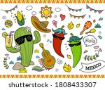 set of cute cartoon... | Shutterstock . vector #1808433307