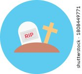 Tomb Vector Flat Color Icon