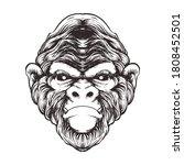 monkey line art illustration...   Shutterstock .eps vector #1808452501