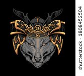 wolf  samurai hat illustraion...   Shutterstock .eps vector #1808452504