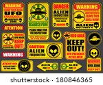 Постер, плакат: Warning UFO Aliens Signs