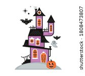 halloween cute haunted house.... | Shutterstock .eps vector #1808473807