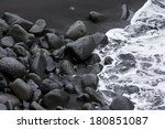 Rocks On The Black Sand And Sea ...