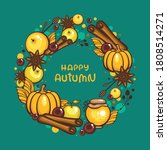 traditional autumn wreath with... | Shutterstock .eps vector #1808514271