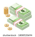 isometric stacks of 10000 south ... | Shutterstock .eps vector #1808520694