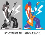 cartoon electric guitar player. ...   Shutterstock .eps vector #180854144
