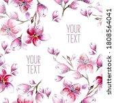 watercolour blossom pattern in... | Shutterstock . vector #1808564041