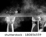 hands of gymnast with chalk   | Shutterstock . vector #180856559
