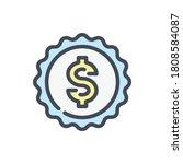 dollar emblem color line icon....