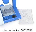 closeup of a 3d printer with a...   Shutterstock . vector #180858761