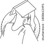 book lover girl line drawing | Shutterstock .eps vector #1808612491