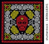 bandana pattern with skull and... | Shutterstock .eps vector #1808618341
