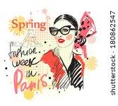 fashion girl and fashion show...   Shutterstock .eps vector #180862547