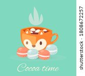 Cocoa Time Lettering Vector...