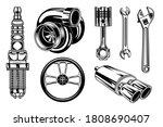 Vintage Car Repair Elements Se...