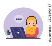 female employee using headphone ... | Shutterstock .eps vector #1808690467