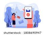 people with smartphones sending ... | Shutterstock .eps vector #1808690947
