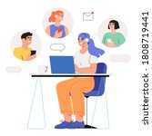 woman specialist with... | Shutterstock .eps vector #1808719441